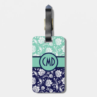 Blue & White Floral Damask Teal Accents Luggage Tag