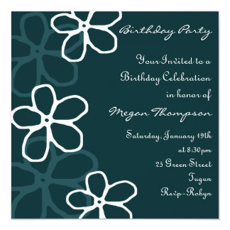 Blue & White Floral Design Birthday Invitation