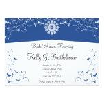 Blue White Floral Flourish Bridal Shower 5x7 Paper Invitation Card