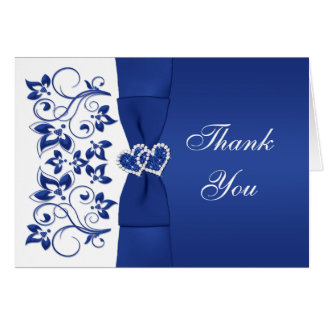 Blue, White Floral, Hearts Wedding Thank You Card Greeting Card