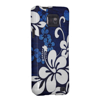 Blue & White Floral Hibiscus Fabric Android Case Samsung Galaxy SII Cover