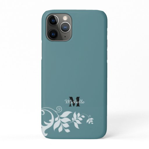Blue White Floral Leaves Swirl Monogram iPhone 11 Pro Case