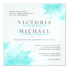 Blue White Floral Metallic Ice Wedding Invitations at Zazzle