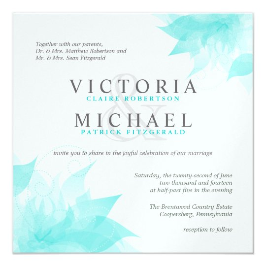 Blue White Floral Metallic Ice Wedding Invitations