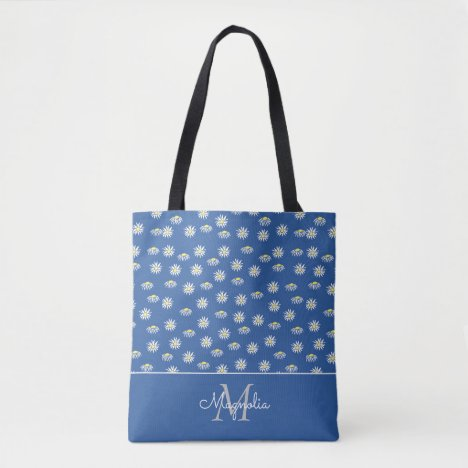 Blue White Floral Pattern Monogrammed Tote Bag