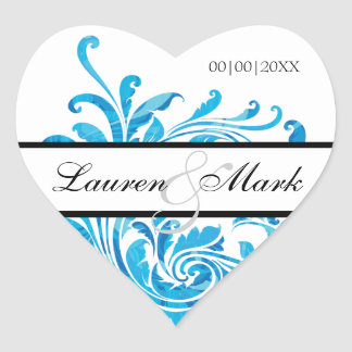 Blue White Floral Pattern Save the Date Heart Sticker