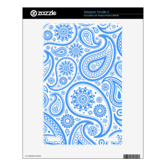 Blue White Floral Pattern Decals For Kindle 2