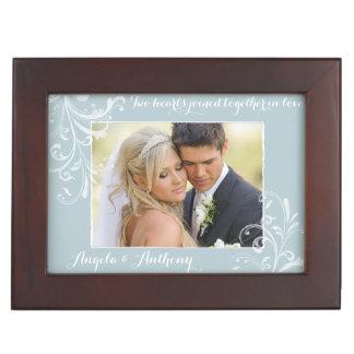Blue White Floral Wedding Photo Personalized Keepsake Box