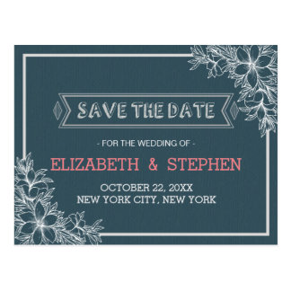 Blue & White Floral Wedding Save the Date Postcard