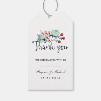 Blue White Floral Wedding Thank You Gift Tag