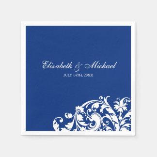 Blue White Flourish Swirl Personalized Wedding Disposable Napkins