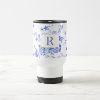 blue white flower china initial customizable side travel mug