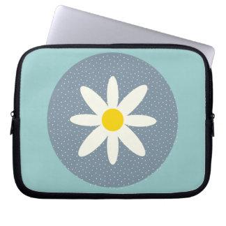 Blue White Flower Neoprene Laptop Zippered Sleeve