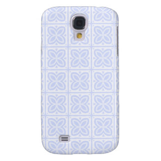 Blue White Flower Square Pattern Galaxy S4 Covers