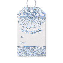 Blue White Flower Swirls Easter Gift Tags