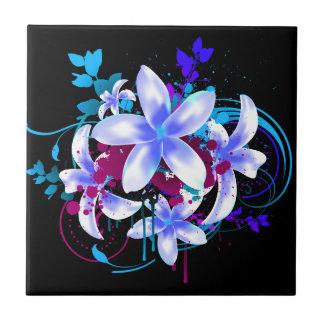 Blue & White Flowers Magenta Grunge Swirls & Splat Ceramic Tile