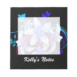 Blue & White Flowers Magenta Grunge Swirls & Splat Notepad