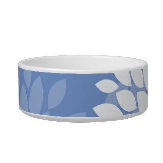 Blue White Flowers Pet Food Bowls