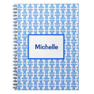 Blue White Folk Pattern Notebook