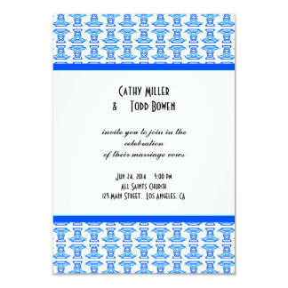 Blue White Folk Pattern Wedding Card