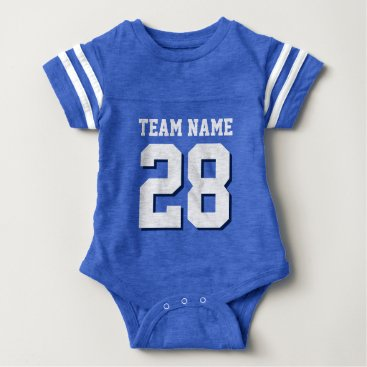 Toddler & Baby themed Blue White Football Jersey Sports Baby Romper