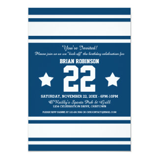 Blue White Football Jersey Stripes Card