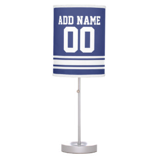 Blue White Football Jersey with Custom Name Number Table Lamp