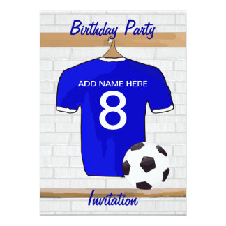 Blue White Football Soccer Jersey Birthday Party 5x7 Paper Invitation Card
