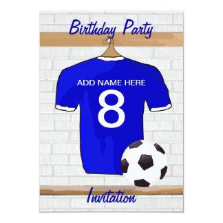 "Blue White Football Soccer Jersey Birthday Party 5"" X 7"" Invitation Card"