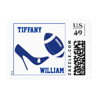 Blue & White Football Themed Stamps