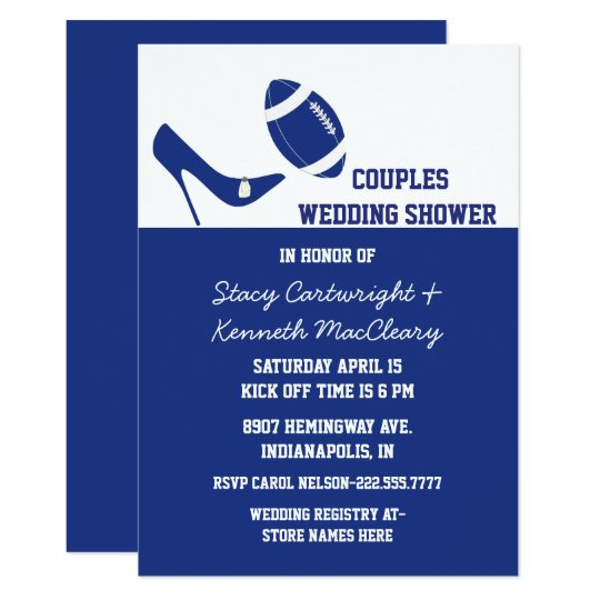 blue white football themed wedding shower invitation