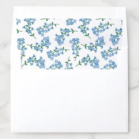 Blue White Forget Me Not Pattern Envelope Liner