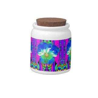 Blue-White Fuchsia Fantasy Color Gifts by Sharles Candy Jar