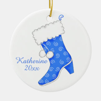 Blue White Fur Boot Shoe Lover Christmas Name Double-Sided Ceramic Round Christmas Ornament