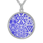 Blue White Geometric 4Beatrice Sterling Silver Necklace