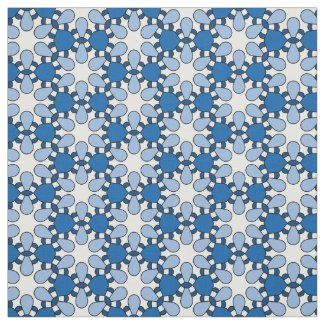 Blue White Geometric Abstract Retro Pattern Fabric