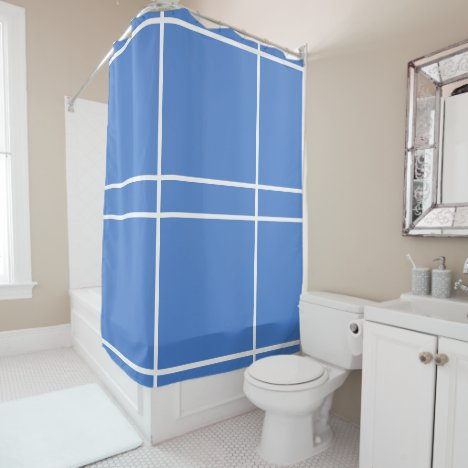 Blue White Geometric Lines Shower Curtain