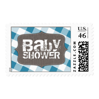 Blue & White Gingham Canvas Baby Shower Postage