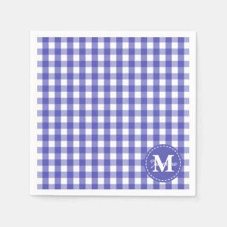 Blue White Gingham Check Pattern Monogram Disposable Napkin