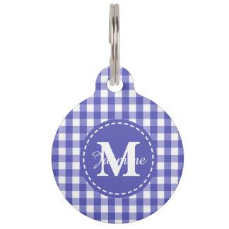 Blue White Gingham Check Pattern Monogram Pet Tag
