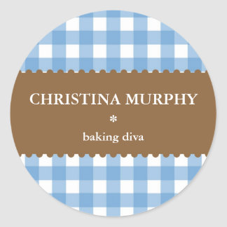 blue white gingham homemade food label seal classic round sticker