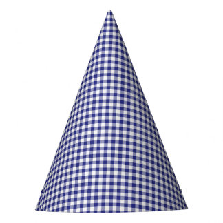 Blue-White Gingham-PAPER PARTY HATS