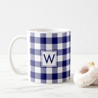 Blue White Gingham Plaid Pattern with Monogram Coffee Mug