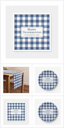 Blue White Gingham Plaid Thanksgiving Supplies