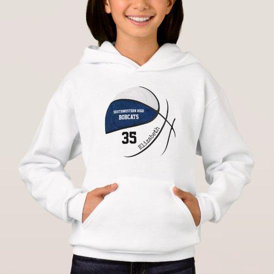 blue white girls' basketball team colors hoodie