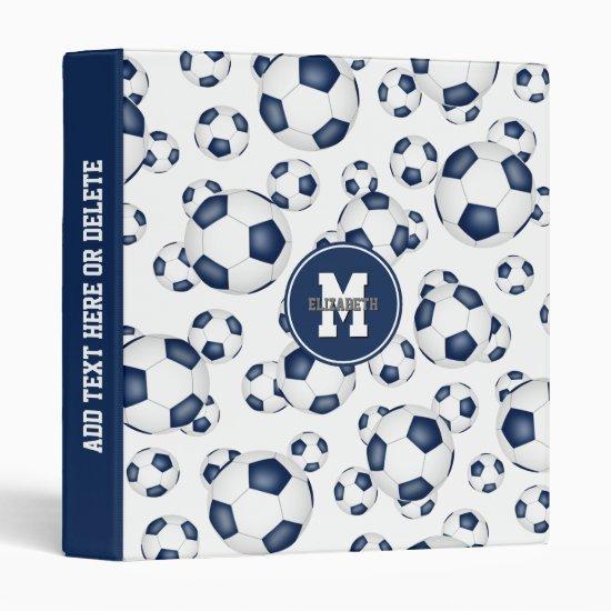 blue white girls boys team colors soccer balls 3 ring binder