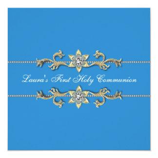 Blue White Girls First Communion Invitations