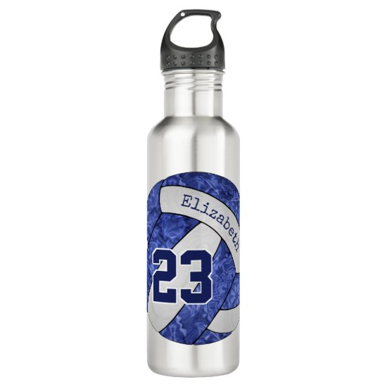 blue white girls volleyball team name number stainless steel water bottle