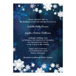 Blue + White Glitters Christmas Wedding Invitation Announcements