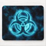 Blue-White Glow Biohazard Symbol Mousepad